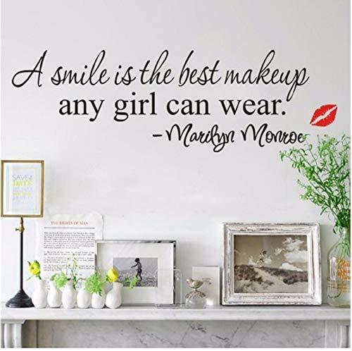 Zxfcczxf Ein Lächeln Ist Das Beste Make-Up Rote Lippen Mädchen Zimmer Dekor Wandaufkleber Abziehbild Diy Zitat Sagen Kunst Großes Geschenk Für Ein Mädchen40 * 70Cm