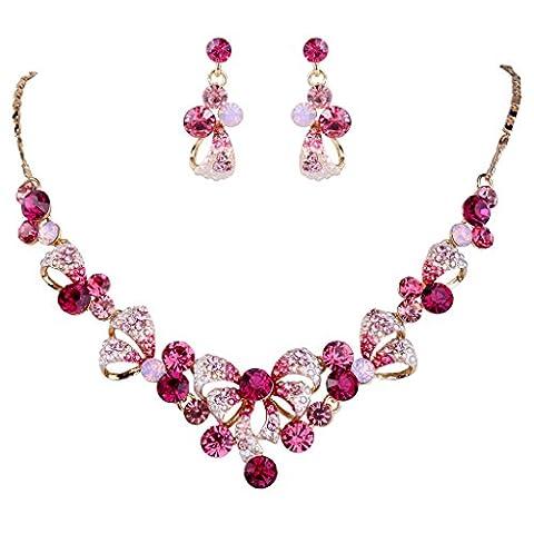 EVER FAITH® österreichischen Kristal elegant Braut Art Deco Schleife Muschel Halskette mit Ohrring Anhänger Schmuck-Set Pink Gold-Ton N02581-4