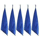 LIHAO 5 Chiffons Microfibre Voiture 350 gsm Double-Face Absorbant pour Nettoyage Auto, Moto, Appareils Domestiques (Bleu, 40×40cm)