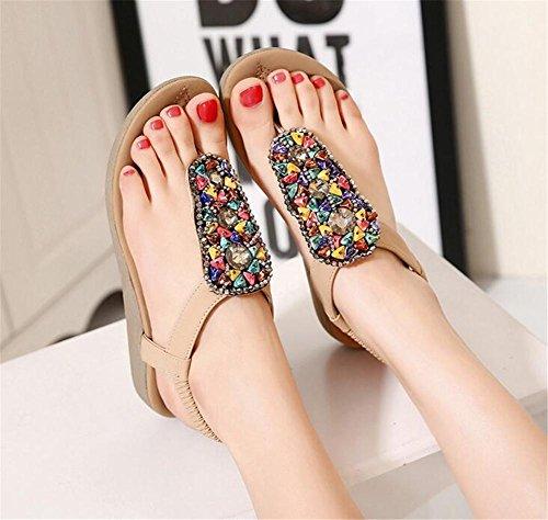 YEEY Donné s Boho stile rotondo peep clip toe Flat tacco paillettes sandali colorati strass estate spiaggia post sandali infradito scarpe infradito apricot