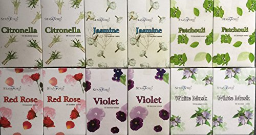 180 mixed Stamford incense cones 6 varieties. 2 X Citronella 2 x Jasmine 2 x Patchouli 2 x Red Rose 2 x Violet & 2 x White Musk by Stamford -