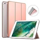 MoKo Funda para iPad 9.7 2018/2017, Protectora Soporte Slim Smart Case con Posterior Transparente TPU Suave con Auto Sueño/Estela para Apple iPad 9.7 Inch (iPad 5, iPad 6) - Oro Rosa