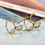 Flongo Edelstahl Ohrringe Ohrstecker Ohrclip Ohrklemme Non Piercing Fake Captive Ring Ohrpiercing Helix Cartilage Knorpel Piercing Gold Golden Herren, Damen Vergleich