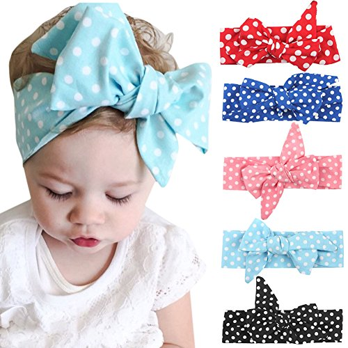 Andy's Share 5 Stück Baby Mädchen Neueste Turban Stirnband Kopf Haarband (Mehrfarbig 2) - 2 Stück Stirnband