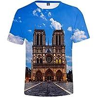 Impresión 3D Camiseta Gran Tamaño Suelto Tee Notre Dama Delaware París Impresión Camiseta Unisexo/azul/XL