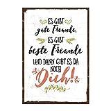 TypeStoff Holzschild mit Spruch – Gute Freunde, Beste Freunde und Du – im Vintage-Look mit Zitat als Geschenk und Dekoration Zum Thema Freundschaft und Geborgenheit (M - 19,5 x 28,2 cm)