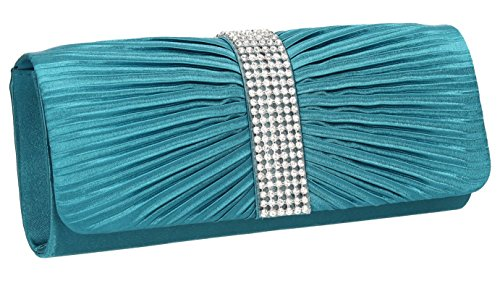 SwankySwans Damen Jane Satin Diamante Tasche Blaugrün
