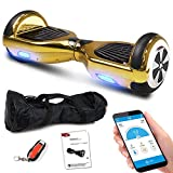Smartway Hoverboard 6, 5 Zoll 600W mit Bluetooth Motion V.5 Balance Scooter, Gold Chrome, S