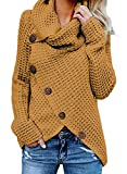 FIYOTE Chandail Femme Pull Couleur Unie Boutonné Tricot Casual Manches Longues Manteau Ourlet Asymétrique Veste Automne Hiver Jaune S(EU36-38)