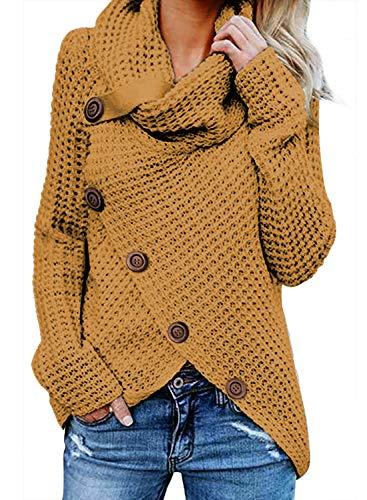 FIYOTE Chandail Femme Pull Couleur Unie Boutonné Gilet Automne Hiver Casual Manches Longues Manteau Ourlet Asymétrique Veste Automne Hiver Jaune S(EU36-38)