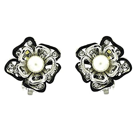 Clip On Earrings Store Black Enamel Crystal and Pearl Daisy Flower Cluster Clip