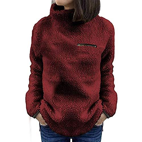 VEMOW Winter Elegante Damen Warme Outwear Sweatershirt Feste Reißverschlüsse Lässig Täglich Im Freien Rollkragen Bluse Pullover Tops Hemd Oberteile(X2-Weinrot, EU-42/CN-XL)
