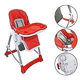 Sotech - Seggiolone pappa,Sedie pieghevoli per bambini da 6 mesi, sedile di alimentazione per neonati portatile con altezze regolabili/vassoio rimovibile/cestello di archiviazione, rosso