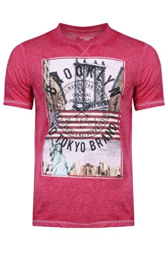 Tokyo Laundry Herren Slim T-Shirt, Einfarbig blau blau Small Gr. Large, Auburn Point - Pink Rose -