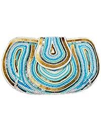 Armkandy, White - Blue & Gold Beads & Sequin Work, Women Clutches
