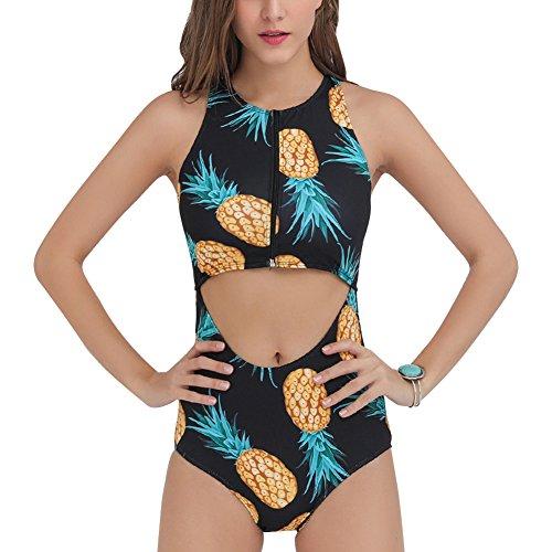Damen Push Up Hohl eiligen Badeanzug Digital Printing Reißverschluss Bikini  Sets Schwarz