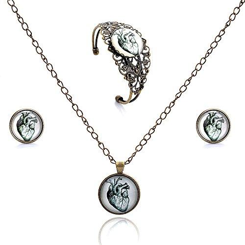Lureme tempo orecchini pendenti a disco serie gioiello prigioniera del fiore cava braccialetto aperto bracciale e collana pendente set gioielli per le donne e le ragazze (09000453) (albero della vita)
