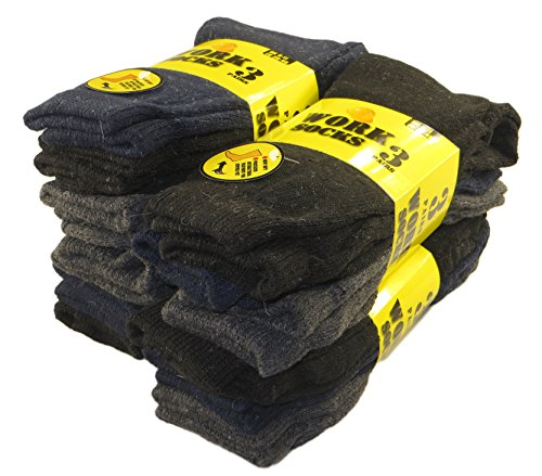 12 Pairs Of Men's Extreme Work Socks, Safety Steel Toe Boot Work Socks Size 6-11 By Sockstack®