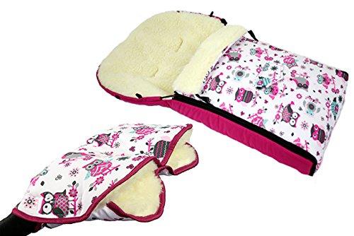 Babys-Dreams *KOMBIPAKET* MUFF + WINTERFUSSSACK 90cm - EULEN $1 - aus Lammwolle für Kinderwagen, Buggy, Radanhänger - WOLLE - Handwärmer