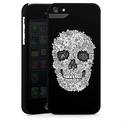 Apple iPhone 4 Housse Étui Silicone Coque Protection Tête de mort Crâne Fleurs CasStandup blanc