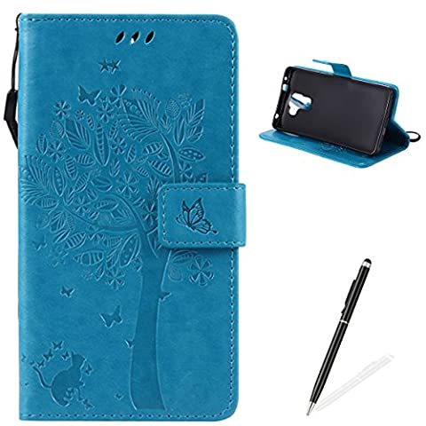 HUAWEI Honor 7 Coque,Feeltech Housse Embossed Tree Chat Papillon motif