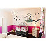 Creatick Studio 'Home Decor' Decorative 'Wall Stickers For Bedroom Kitchen' (Peacock On Branch PVC Vinyl, 168 CM X 71 CM )