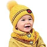 Fuibo Baby Mütze Schal Set, Baby Kind Beanie Mädchen Kappen Halstuch Strickte Winter Schal warme Kinderhüte | Baby Mütze Beanie Keep Warm Hut Strickmützen (Gelb)