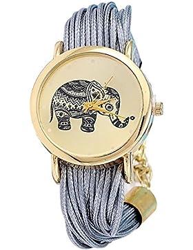 Mädchen Elefant Muster eingewoben Seil Armband Quarz Zifferblatt Armbanduhr Silber