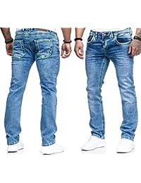 iprofash Herren Jeans Hose Washed Straight Cut Regular Stretch Dicke Nähte c9990faf86