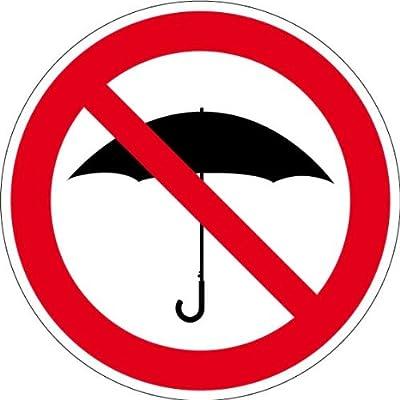 """Verbotsschild """"Regenschirme verboten"""" aus selbstklebender Folie - in verschiedenen Größen erhältlich"""