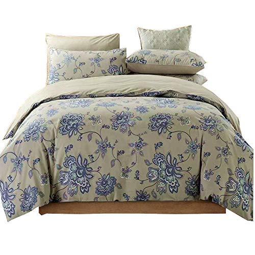 3 Stück Bettwäsche Bettbezug Set König Grau, 100% Baumwolle 800 Fadenzahl Floral Hypoallergen Daunendecke Bettbezug für Schlafzimmer - König 3 Stück Bettbezug