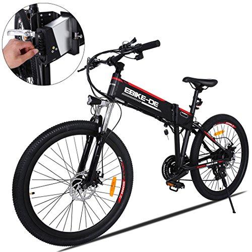 Ultrey MTB E-Bike 26 Zoll Elektrofahrrad Faltende, 2018 Neue E-Mountainbike Klappbar mit 36V 8Ah Lithium-Ionen Batterien, Hochfestem Stoßdämpfung und 7 Gang Shimano Gangschaltung
