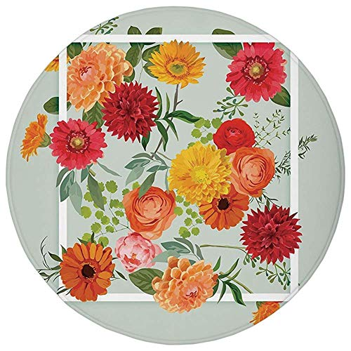 Round Rug Mat Carpet,Shabby Chic Decor,Floral Flowers Leaves Buds Frame Art Print,Pale Green Dark Coral Mustard Peach Red,Flannel Microfiber Non-Slip Soft Absorbent,for Kitchen Floor Bathroom -