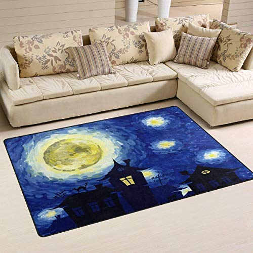 Van Gogh Halloween Starry Night Bathroom Kitchen Decor Rug Welcome ()