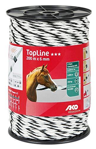AKO Topline Plus Weidezaunseil, 6 mm, weiß/schwarz - 200 m - Widerstand: 0,42 Ohm, Sehr Gute Leitfähigkeit für Alle Zaunanlagen - 6X TriCOND Leiter - In der Nutztier- und Pferdehaltung Sehr bewährt