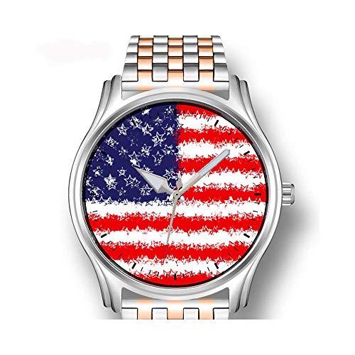 Herrenuhren Roségold Edelstahl Sport Business Watch Männliche Armbanduhr Starbursts und Windräder, Taupe, Rot, weiße Uhr -