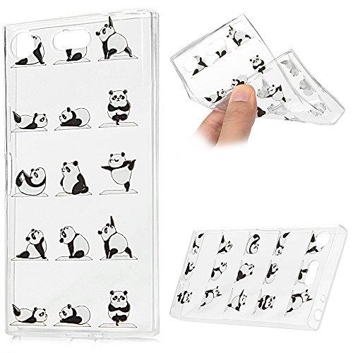 Galleria fotografica Sony Xperia XZ1 Compact Cover, Custodia Morbida Silicone TPU Flessibile Gomma - MAXFE.CO Case Ultra Sottile Cassa Protettiva per Sony Xperia XZ1 Compact - Panda Yoga