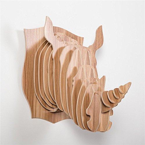HROOME Animal Décoration Murale, 3D Bois Sculpture de Tête de Rhinocéros Décoration Murale pour Chambre/Salon Couloir Intérieur