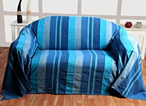 homescapes jet de lit jet de canap bleu rayures de 230 x 255 cm en pur coton appartenant. Black Bedroom Furniture Sets. Home Design Ideas