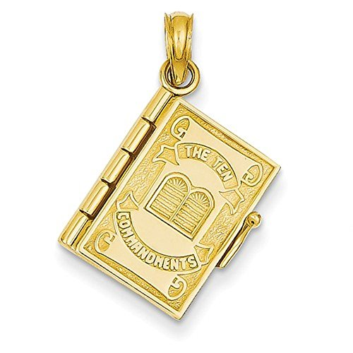 CKL International 14K Gelb Gold Zehn Gebote Bibel 3D Charm Anhänger