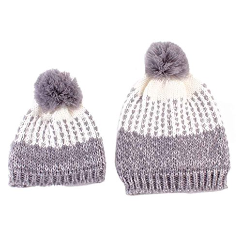 covermason-1set-mommy-and-baby-knitting-hat-outside-matching-outfit-warmer-hat-family-wool-cap-gray