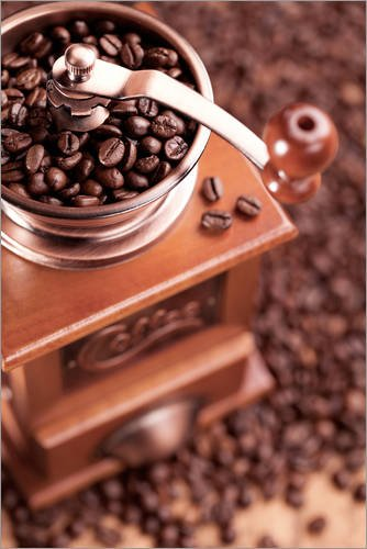 Posterlounge Acrylglasbild 20 x 30 cm: Kaffee Mühle mit Bohnen 2 von pixelliebe - Wandbild, Acryl...