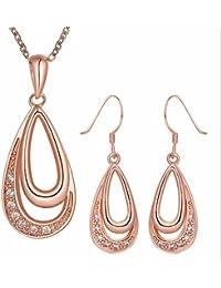 Mes-Bijoux-Bracelets Parure Doré Or Rose 750 000 18ct carats Cadeau Femme  Bijou Fantaisie Haut de Gamme Cristal Strass Femme Rose… ad18b6d12b37