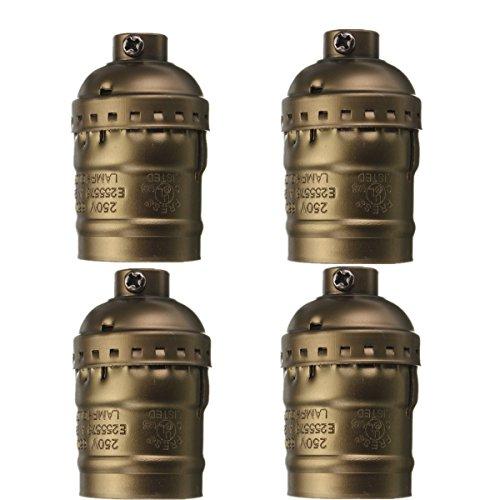 KINGSO 4 Pack Douille Edison E27 110-250V Adaptateur De Lampe Lustre Edison Retro Vintage En Cuivre Sans Fil Sans Interrupteur Laiton Antique