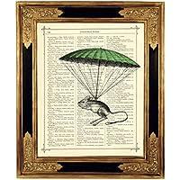 Maus Fallschirm Steampunk Kunstdruck auf viktorianischer Buchseite Geschenk Kinderzimmer Bild Poster ungerahmt