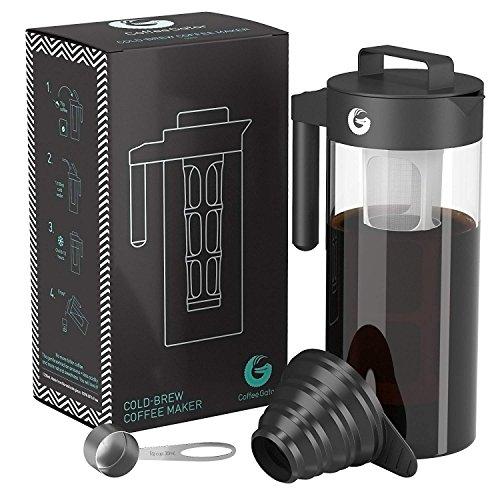 Coffee Gator Kaffeebereiter für Cold Brew Kaltwasser-Kaffeezubereiter bekömmlichen Kaffee-Kaltauszug herstellen | Ideal für Eiskaffee | Im Set mit Messlöffel und Klapptrichter (Grey)