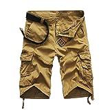 Herren Shorts Kurze Hose, Dasongff Herren Cargo-Shorts Bermuda Hose mit Taschen Strand Casual Kurze Hosen Freizeit Sports Shorts Sommer (38, Khaki)