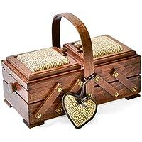 Aumuller Korbwaren Gmbh and Co. Kg - Costurero (madera de haya, incluye acerico en forma de corazón), color marrón