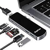 Raycu e Hub USB C, hub C di Tipo Alluminio 7 in 1 Adattatore con Alimentazione PD, Lettore di schede TF/SD, 4K HDMI, USB-C, 2 Porte USB 3.0 per MacBook PRO 2016/2017/2018 (Sliver)