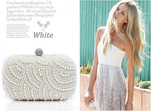Zeagoo Fashion Clutch Beaded Beaded Clutch Bridal Bag Avambraccio Borsa Festa Nuziale Borsa Da Sera Bianco